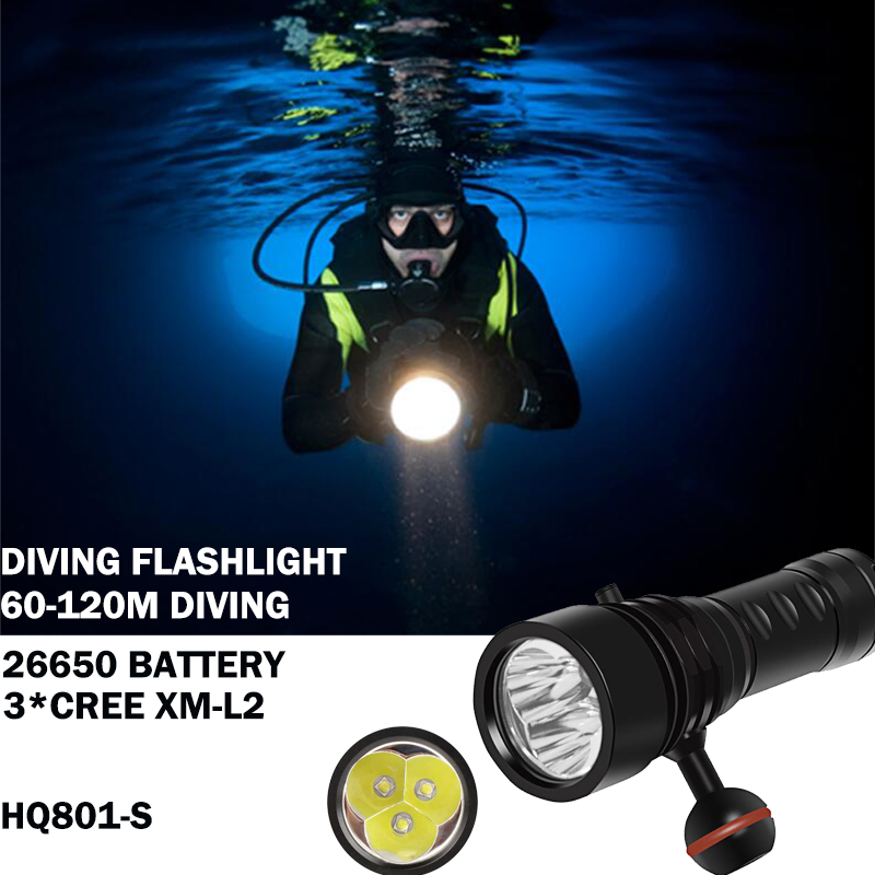 100m Diving flashlight Scuba Torch lanterna 26650 fill light Underwater photography 3* CREE XM-L2 high power Dive light torch scuba dive light