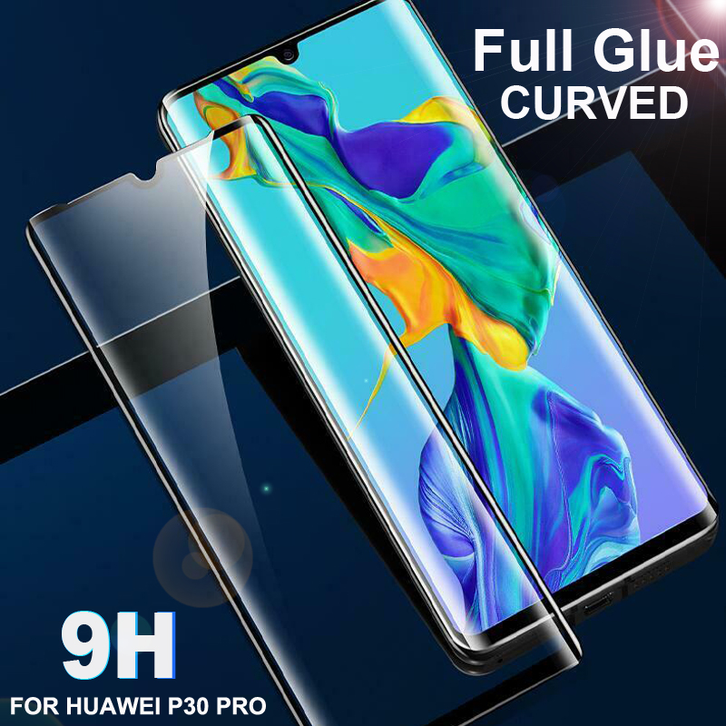 New 9H Full Glue Tempered Glass Screen Protector For Huawei P30 Pro Curved Edge Coverage Adhesive Thin HD Clear Protective Film