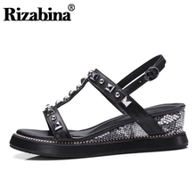 RIZABINA Summer New Women Sandals Real Leather Buckle Wedges Rivets Shoes Outdoor Vacation Beach Footwear Size 34-39