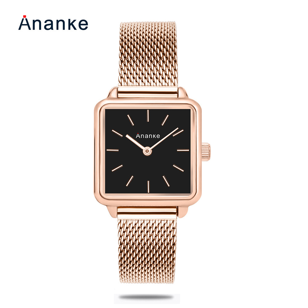 9f82363cb1e8 Women Square Stainless Steel Mesh Watch Lady Simple Rose Gold Wristwatch  Waterproof Leather Clock Japanese Quartz Montres Femme