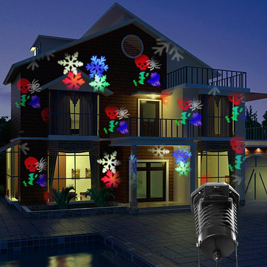 christmas halloween laser projector led stage light waterproof 10 replaceable patterns holiday party landscape decoration lights - Laser Projector Christmas Lights