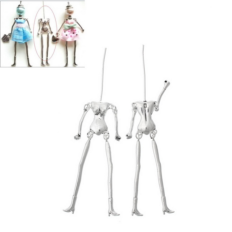 MJARTORIA 5PCs Human Skeleton Body Shaped Pendants Fit DIY Dolls Antique Silver Bronze Color Vintag Pendants For Jewelry Making ...