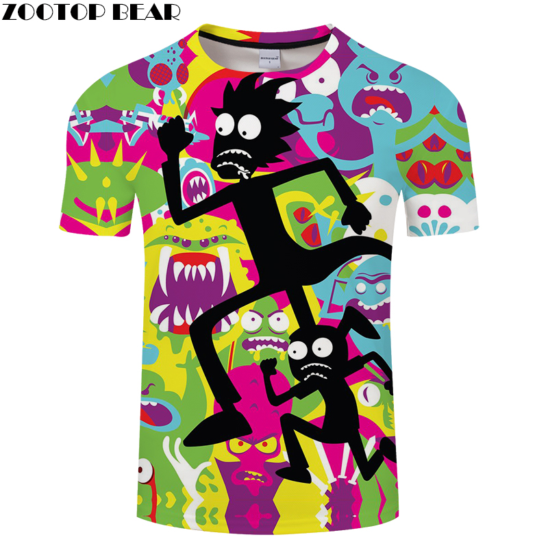 Rick and Morty 3D Print t shirt Men Women tshirt Summer Anime Short Sleeve O-neck Tops&Tees 2018 Color Drop Ship ZOOTOP BEAR