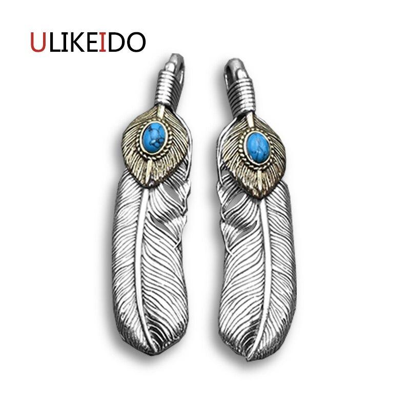 Pur 925 bijoux en argent Sterling charmes de plumes pendentif Vintage pour unisexe Thai argent collier chaîne Fine cadeau 626