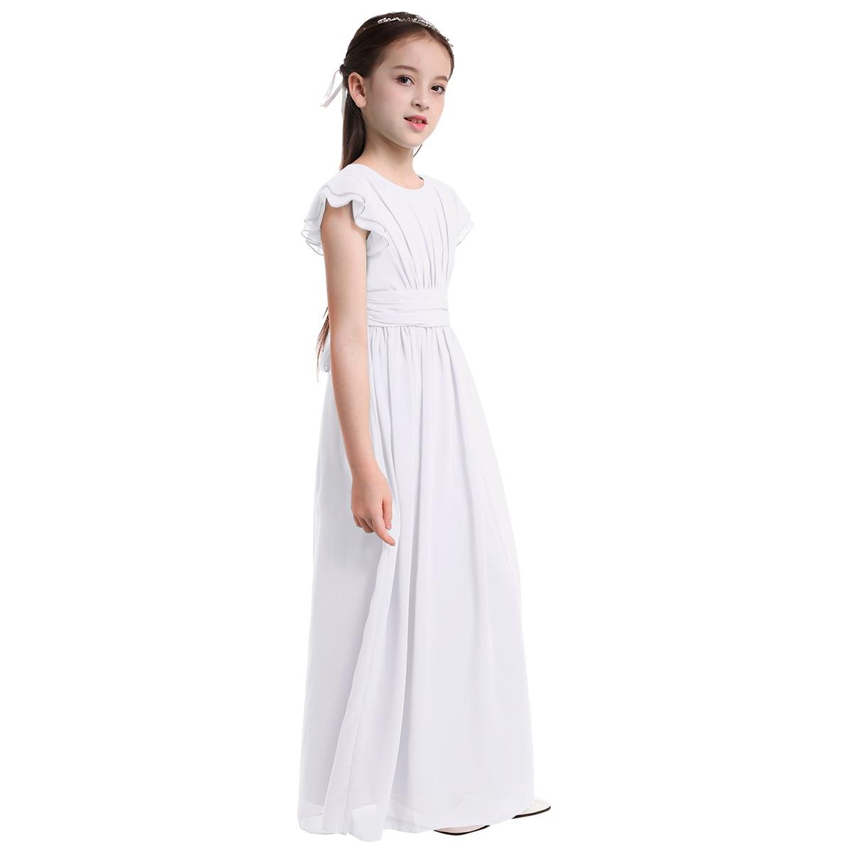 Image 3 - Girls Chiffon Flutter Sleeves Flower Girl Dress Pleated High waisted Princess Pageant Birthday Wedding Party Long Dress SZ 4 14Flower Girl Dresses   -