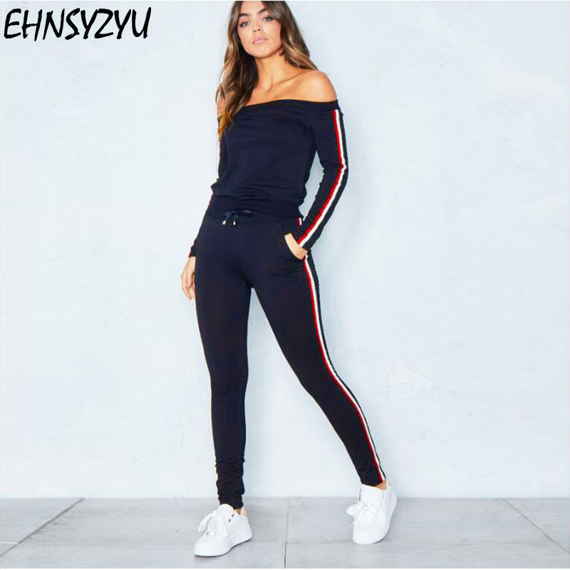 Sexy Bodycon Two Piece Set Top And Side Striped Pants Fitness Outfit