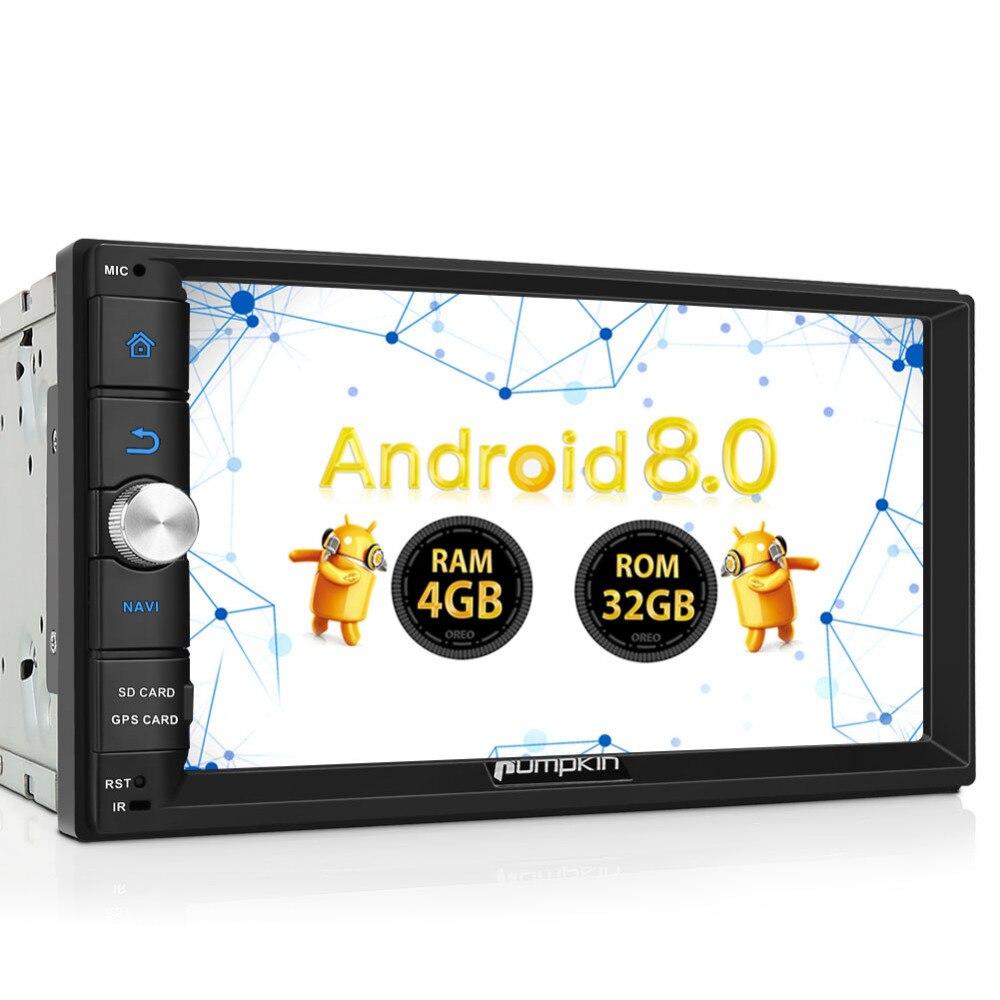 Citrouille 2 Din 7 ''Android 8.0 Universel De Voiture Radio No DVD Lecteur Qcta-Core GPS Navigation De Voiture Stéréo wifi 4g Bluetooth Headunit