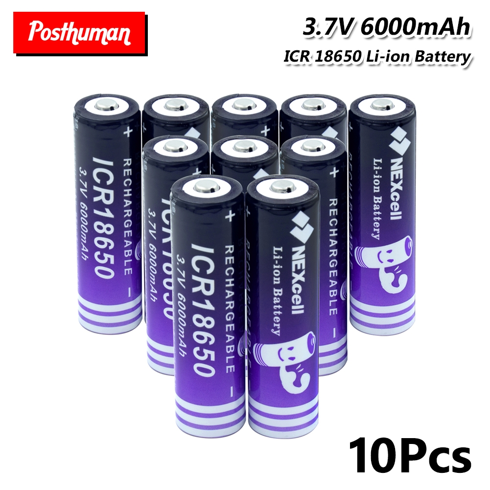 <font><b>18650</b></font> Lithium Battery <font><b>6000mAh</b></font> <font><b>3.7V</b></font> Rechargeable Power Replacement batteries high-discharge For E-cigarette Flashlight image