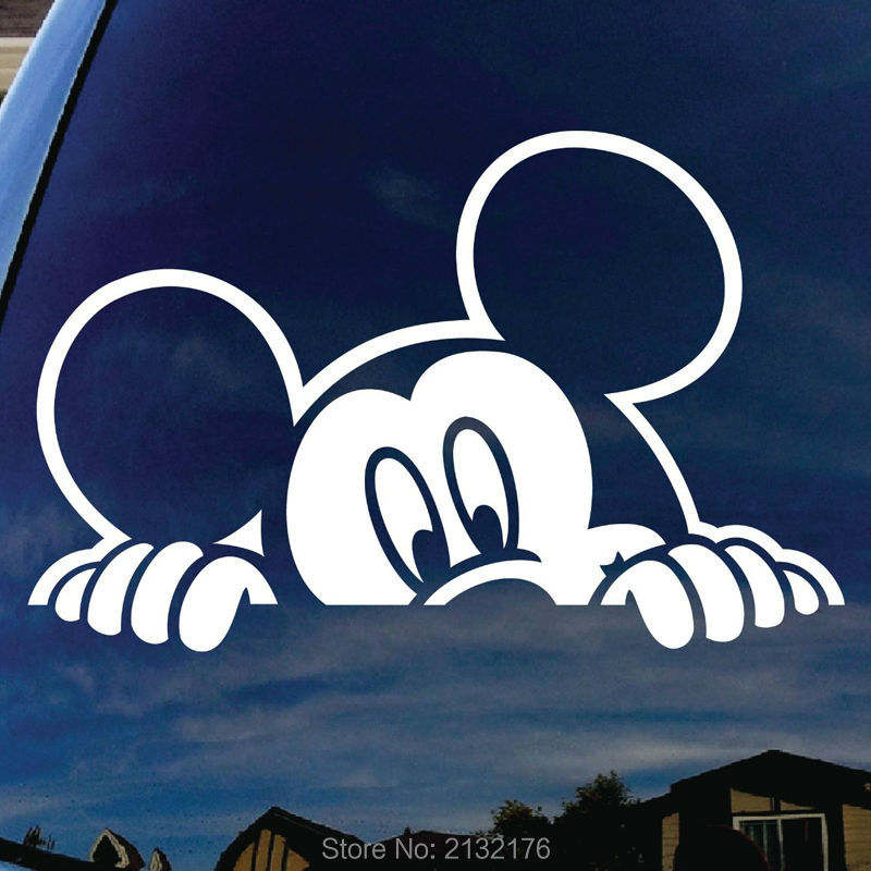 "Mickey Mouse Peeking Car Window Vinyl Decal Sticker 5"" Wide Die Cut Decal Truck SUV Car Window Vinyl Die Cut Sticker"