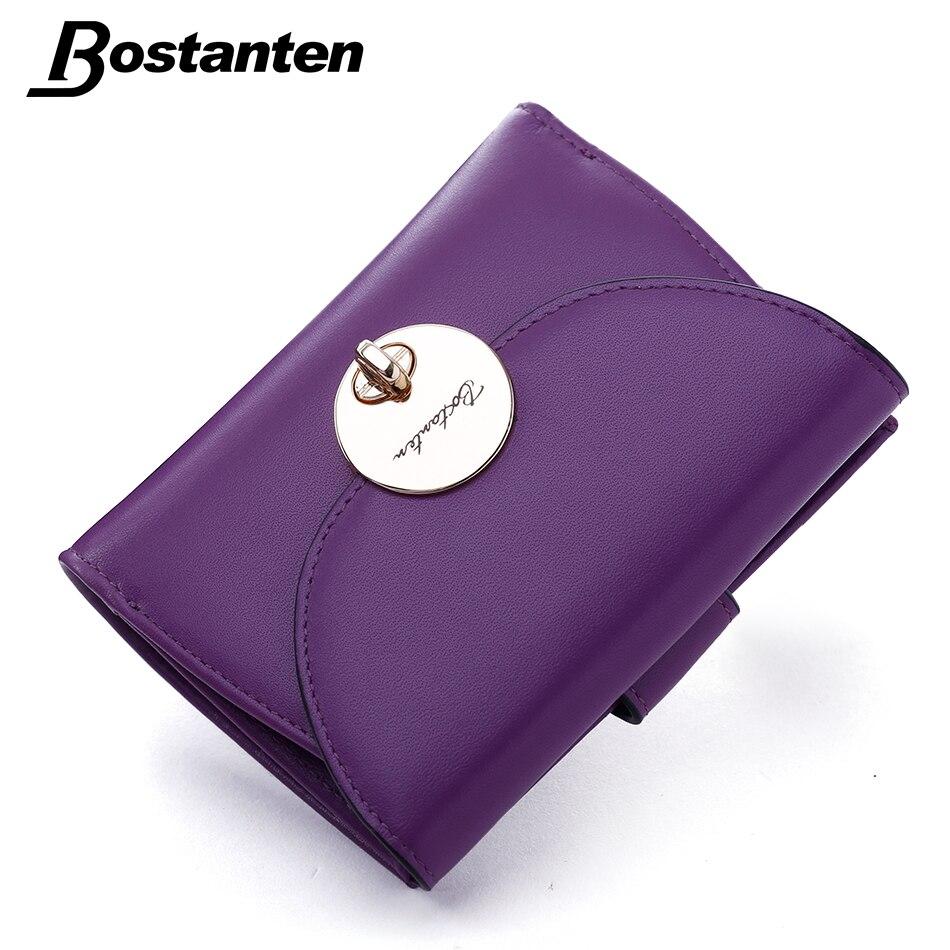 Bostanten Woman's Fashion Genuine Leather Wallet Button Clutch Purse Lady Short Handbag Bag Purple Hasp Mini Coin Women's Wallet viewinbox black genuine cattle leather mini short wallet and purse small wallet feminine clutch genuine leather wallet