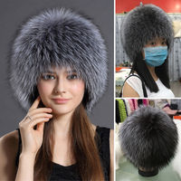 ETHEL ANDERSON 100% Genuine Silver Fox Fur Hat Winter Women's Special Series Knitted Style Fur Beanies Cap Best Gift for Girls