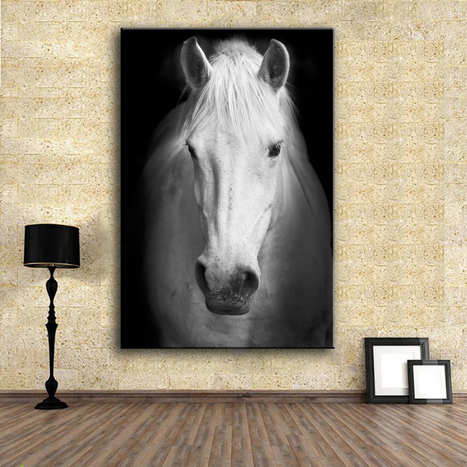 Hdartisan Wall Art Prints Fine Painting White Horse 2 Animal