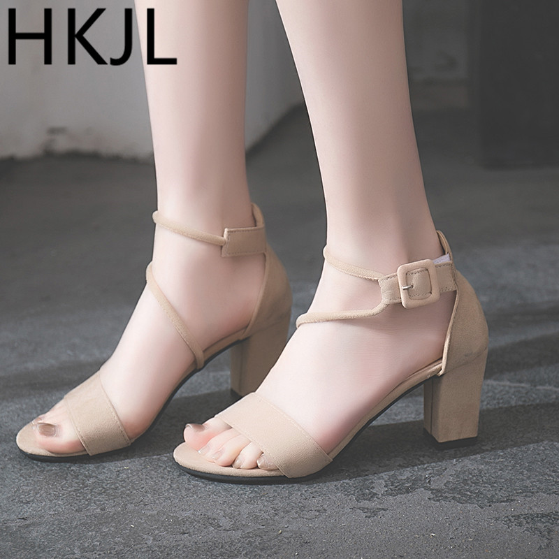 HKCP2019 A belt in the with a stylish all-around Korean version of trendy gladiator sandals new chunky heel C200