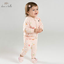 DBM9855 dave bella spring baby fashion clothing sets girls lovely long sleeve suits children print clothes(China)