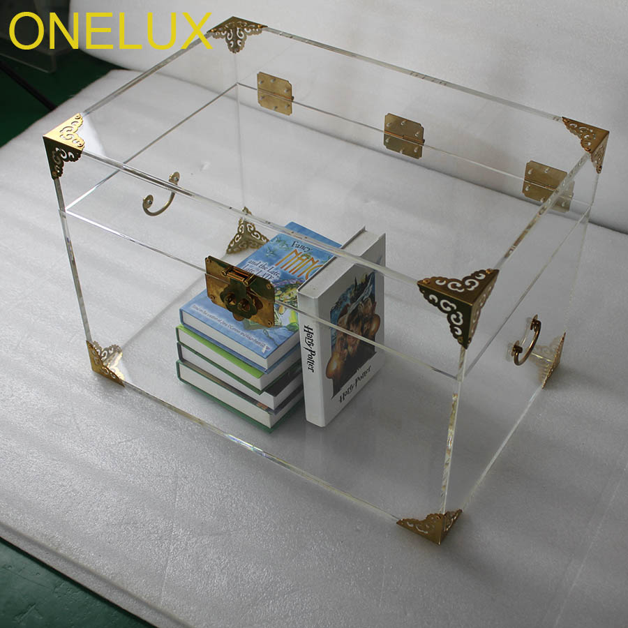 ONELUX Clear Acrylic Storage Chest ,Lucite Trunk Coffee Table- 2 color options for the metal decor Борода