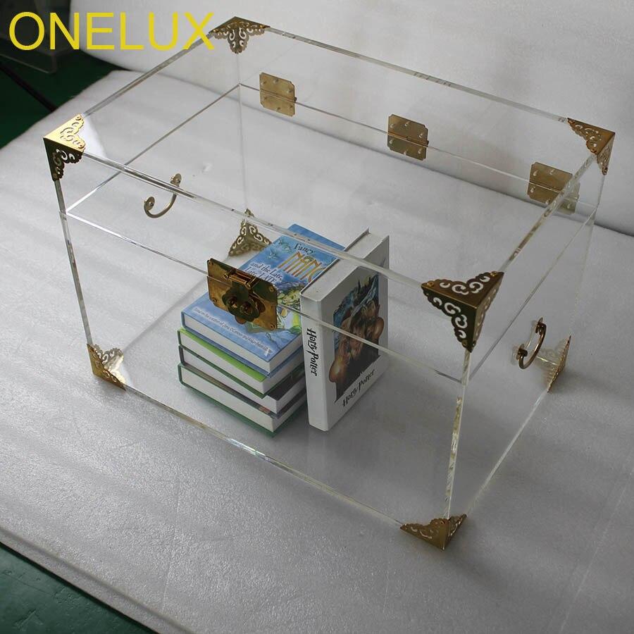Onelux Прозрачный Акриловый хранения груди, lucite багажник Кофе стол-2 цвета Опции для металлический декор