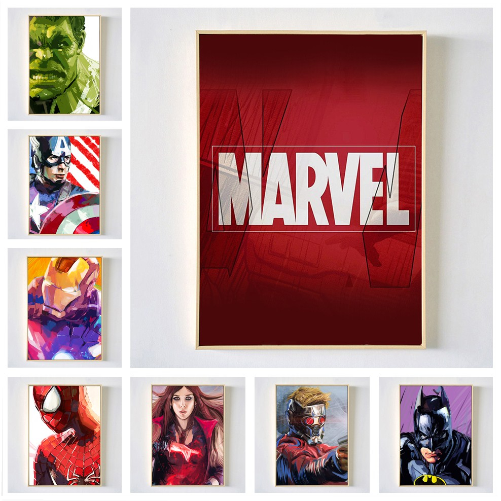 Painting Poster Decorative Wall-Art Avengers Superhero Nordic Cartoon Children's Canvas