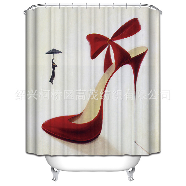 Personalized Red High Heeled Shoe Pattern Shower Curtain Polyester Waterproof Bathroom Partition 180x180cm