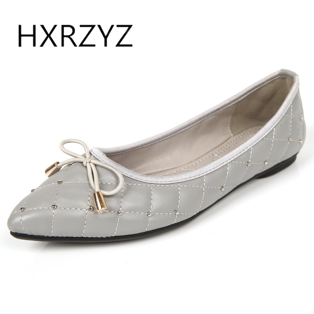 HXRZYZ large size women black flat shoes female leather loafers spring/autumn new fashion pointed toe bowknot nail casual shoes odetina fashion women pointed toe rivets loafers 2017 spring