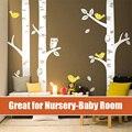 2016 NUEVA Owl Birds Etiqueta de La Pared 3 Gran Árbol de Abedul Pared tatuajes Gran para Baby Nursery Room Art Mural Vinilo Decoración de La Pared pegatinas