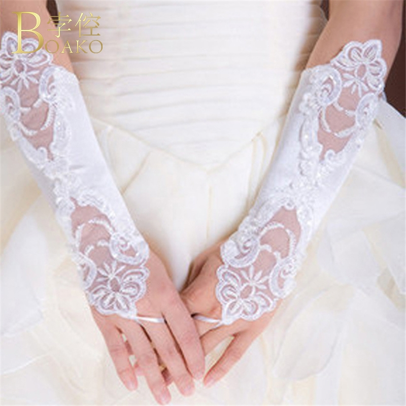 BOAKO Wedding Gloves Women White Fingerless Bridal Gloves Long Lace Gant Mariage Femme Party Gloves Wedding Luvas Accessories K5