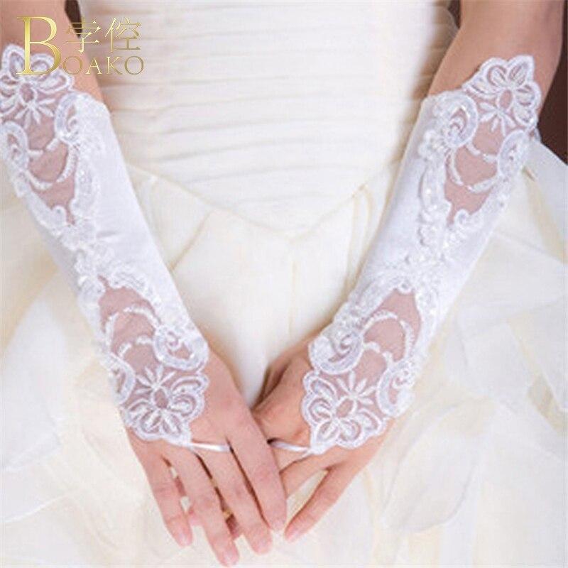 BOAKO Wedding Gloves Women White Fingerless Bridal Gloves Long Lace Gant Mariage Femme Party Gloves Wedding Luvas Accessories K5