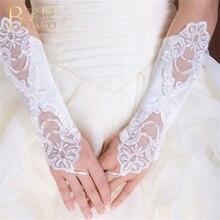 BOAKO Wedding Gloves Women White Fingerless Bridal Long Lace gant mariage femme Party gloves Luvas Accessories K5
