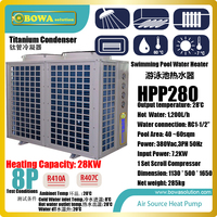 8P air source heat pump water heater is designed for 40~60sqm swimming pool and produce constant temperature water at 28'C