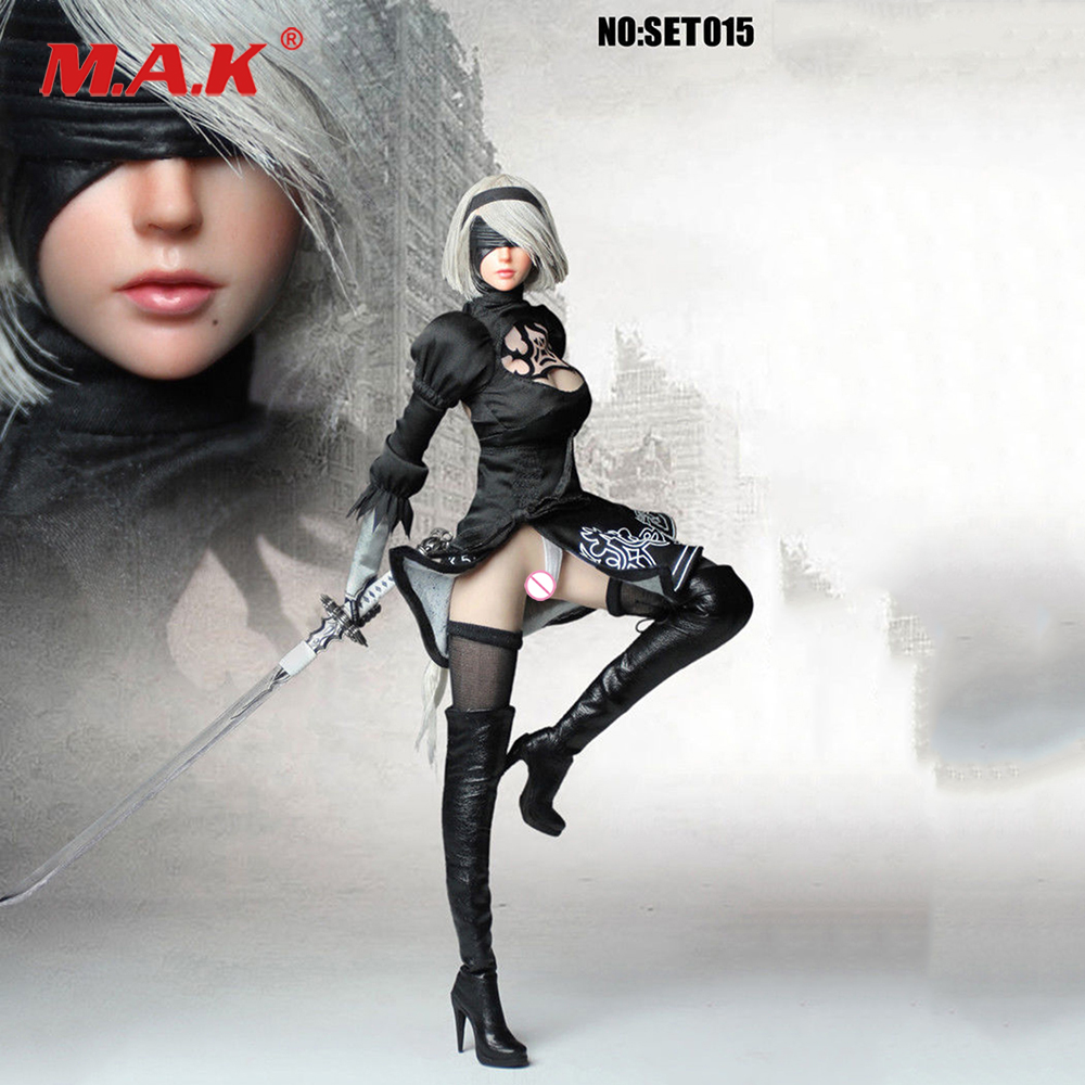 YoRHa No.2 Type B Game figure 2B 1/6 Cosplay SET015 NieR 2B YoRHa Clothing Sets 2 girl figure with mask Toy Collectible no body tf toys tf01 1 6 scale robot female dress f auto age yorha 2b nier neal mechanical girl head clothing suit no body 12 figure