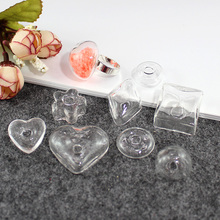 25pcs DIY Liquid Ring Necklace Bottles(8 styles avaialbe),glass bubble rings,Glass Globe Bubble Vial rings