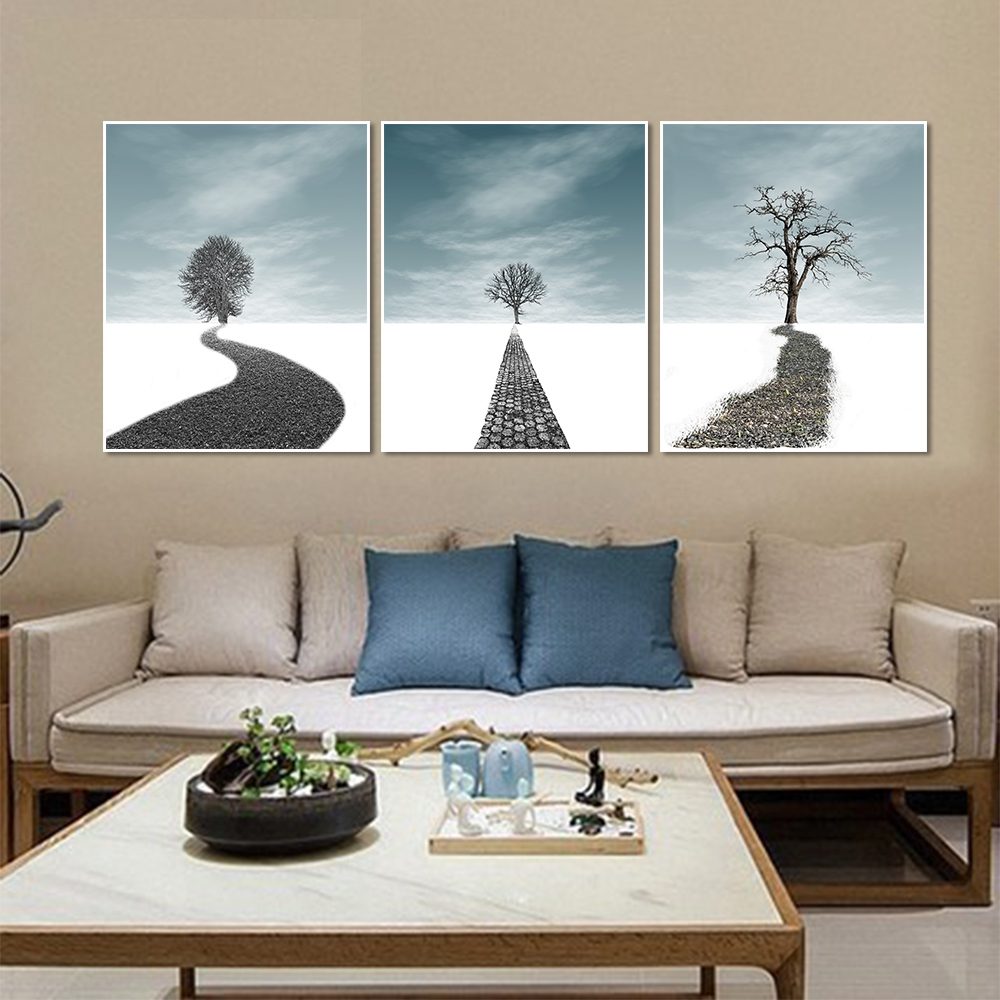 Leading Tenphy Canvas Painting HD Art Paintings The Trail And The Dead Tree Decorative Paintings Living Room Mural Free Shipping