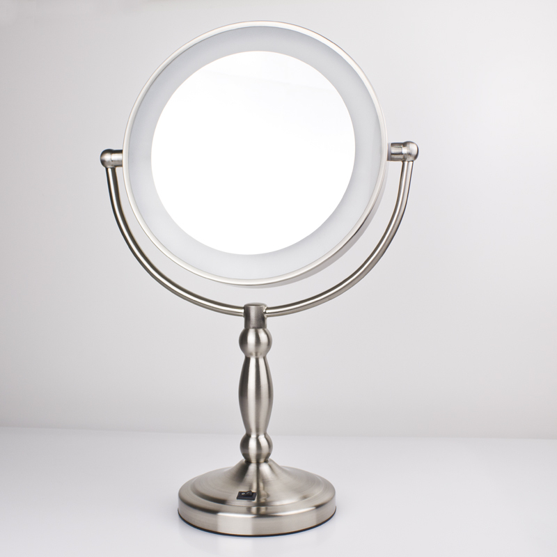 Enlarge led mirror with light 9 inch Large cosmetic mirror desktop makeup mirror 9903 6 inch 5x magnification cosmetic makeup mirror round shape 2sided rotating magnifier mirror led light makeup mirror for gift