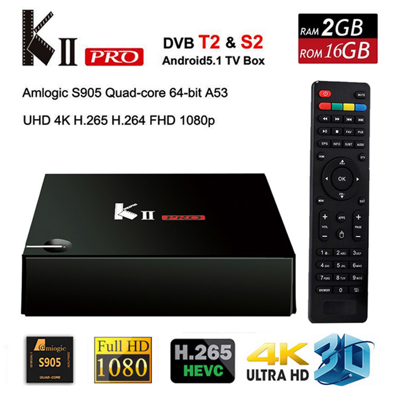 2017 Kii pro Android Tv Box 4k Android 5.1 2gb+16gb Amlogic S905 DVB-T2 Tuner Wifi Support DVB-T2 S2 HDMI2.0 Smart Meidia Player