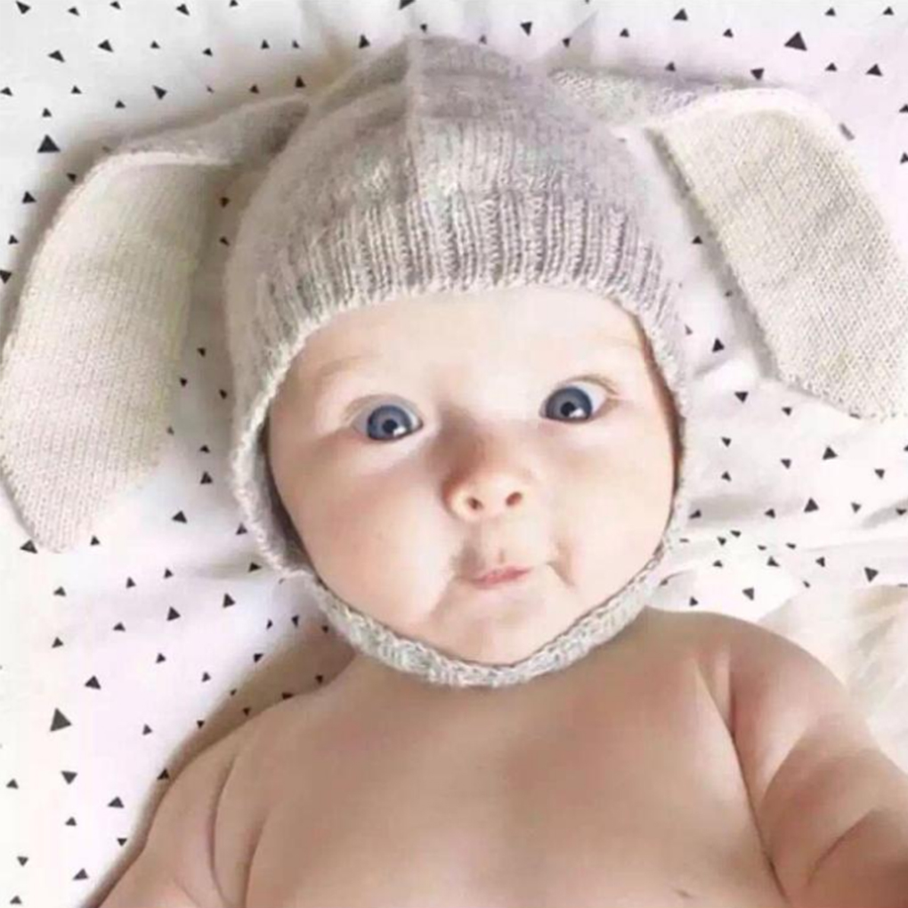 Baby Rabbit Long Ear Knitted Hat Toddler Bunny Beanie Cap Baby Autumn Winter Hat