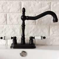 """Czarny olej przetarł 4 """"mosiądz Centerset kuchnia łazienka Vessel Sink dwa otwory umywalka obrotowy kran podwójny uchwyty wody z kranu ahg078"""