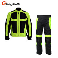 Riding Tribe Breathable Summer Motorcycle Protective Jacket +Hip Protector Pants Kits Motorcycle Racing Suits Jacket & pants