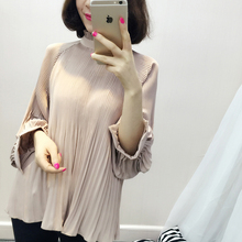of 2016 Korean version of the new Lantern Sleeve Pleated Chiffon shirt coat color temperament all-match thin dress
