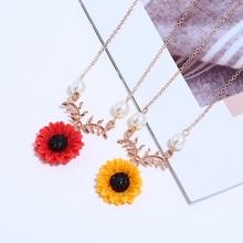 2019 Best Selling Explosion Season New Imitation Pearls Small Orange Flower Necklace Women Long Chain Trendy Sweet Jewelry Femme