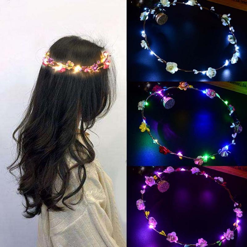 Women Girls Wedding Party Crown Flower Headband LED Light Up Hair Wreath Garlands Women's Christmas Halloween Glowing Wreath