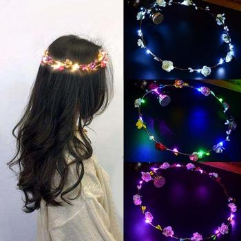 Women Girls Wedding Party Crown Flower Headband LED Light Up Hair Wreath Garlands Women's Christmas Halloween Glowing Wreath