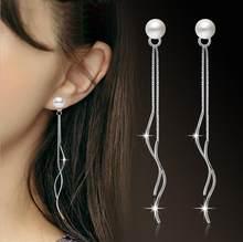ANENJERY 925 Sterling Silber Einfache Mode Quaste Welligkeit Ohrring Kette Perle Ohrringe brincos Für Frauen S-E172