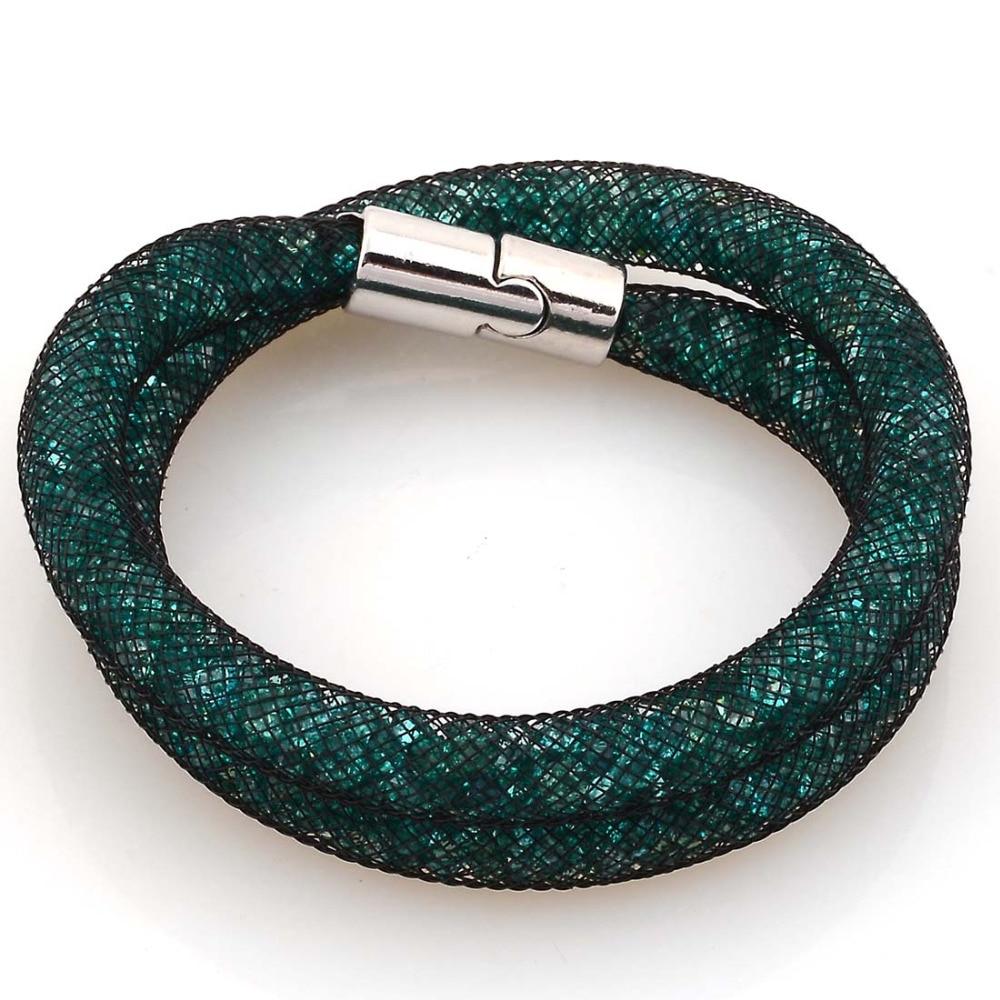 Double Wrap Swarovski Crystals Red Leather Bracelet - Ambrosia