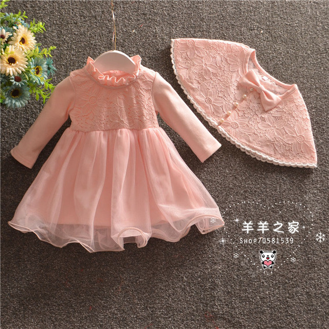 new baby dress with shawl pink lace baby girl christening gowns 1 year birthday dress baby girls clothes for 0-18M