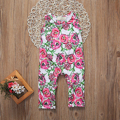 Summer Newborn Infant Baby Girl Romper Sleeveles Cotton Floral Romper Jumpsuit Outfit Playsuit Clothes newborn infant baby clothes girl floral strap lace romper jumpsuit playsuit outfit cute summer baby romper onesie