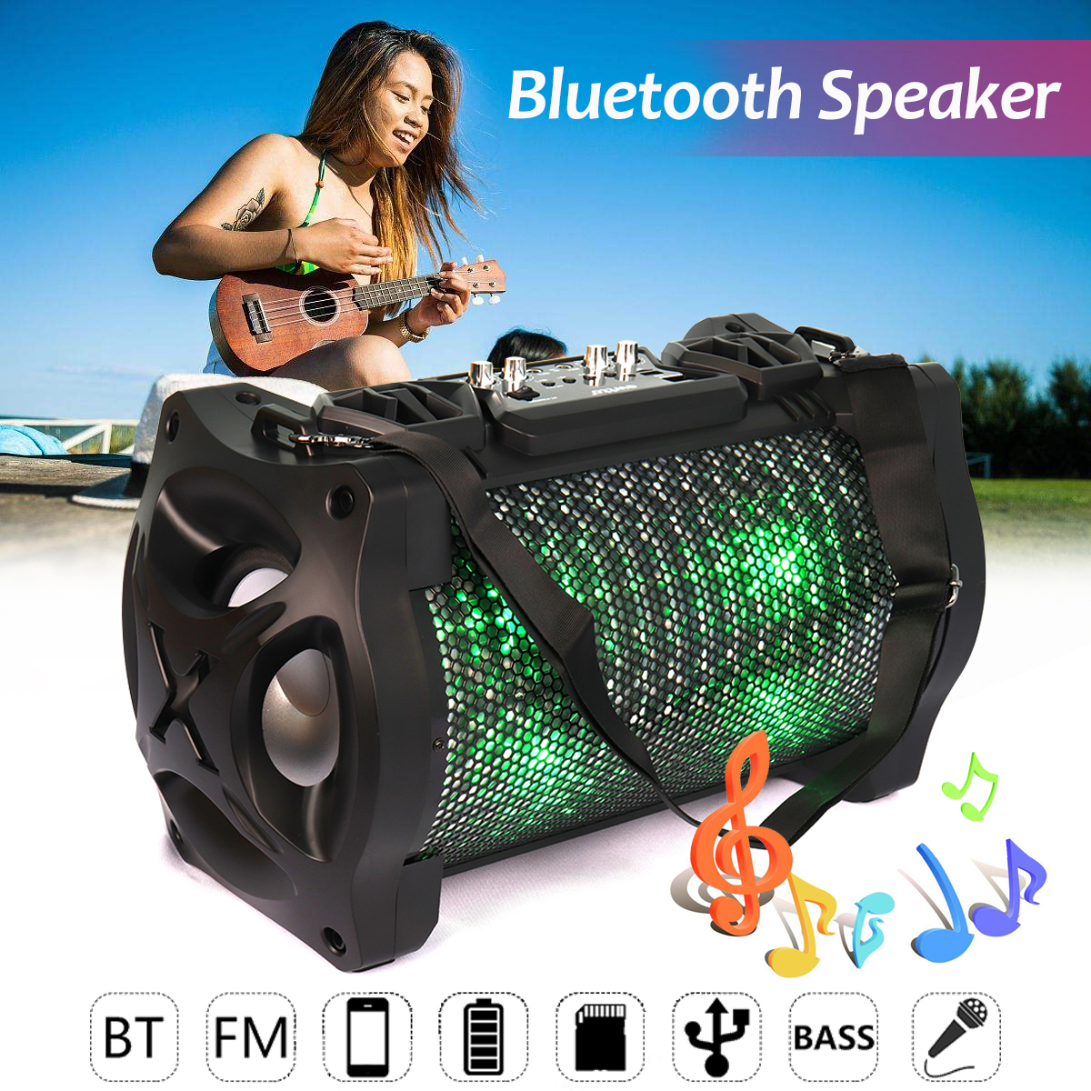 Outdoor Portable Subwoofer Bluetooth Speaker Karabale with Microphone Super Bass Stereo FM Radio AUX/USB/TF Card Music Player super bass outdoor bluetooth speaker wireless sports portable subwoofer bike car music speakers tf card aux mp3 player