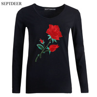 SEPTDEER Fashion Female Cotton Long Sleeve All Match Large Sizes Rose Flower T Shirt Women Chinese