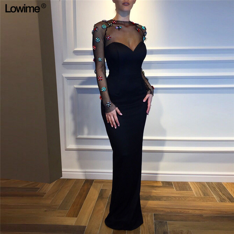 Special Design Black   Prom     Dresses   2019 Mermaid Long Sleeves See Through Sexy Evening   Prom   Party Gowns With Flowers Zipper Back