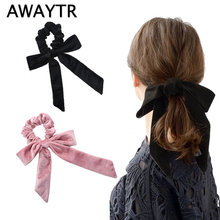 AWAYTR New Velvet Scrunchies  Elastic Hair Band Bow Ropes Girls Ties Women Accessories Sweet Head