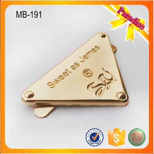 MB191 Custom gold bag logo tag label metal clothing logos metal label for  bags 62c30e04fd527