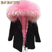 High fashion cold winter outwear 2018 new natural fox real fox fur lined parka with natural big size raccoon fur collar trim